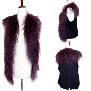 Alberto Makali Lamb Fur Fuzzy Open Front Vest